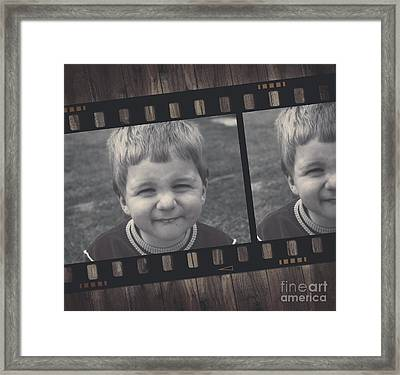 Vintage Filmstrip Boy Smiling For The Camera Framed Print by Jorgo Photography - Wall Art Gallery