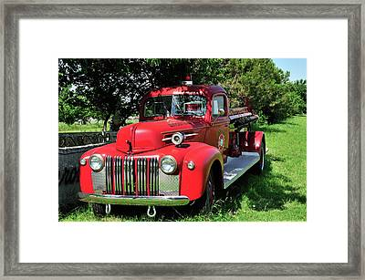 Vintage Fire Truck Framed Print by Betty LaRue