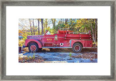 Framed Print featuring the photograph Vintage Fire Truck South Weare New Hampshire by Edward Fielding
