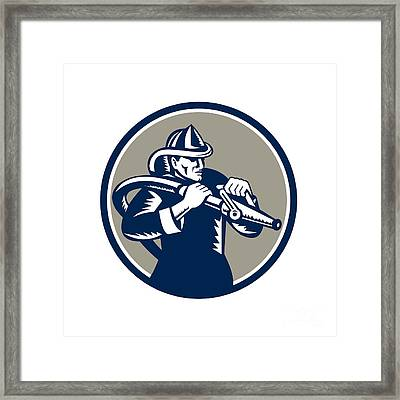 Vintage Fireman Firefighter Aiming Hose Circle Woodcut Framed Print