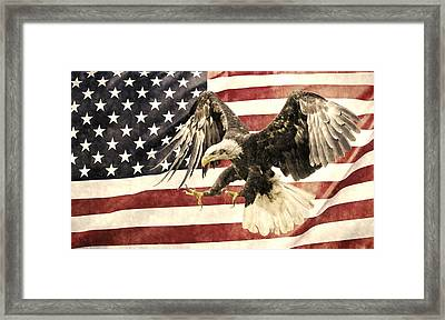 Framed Print featuring the photograph Vintage Flag With Eagle by Scott Carruthers