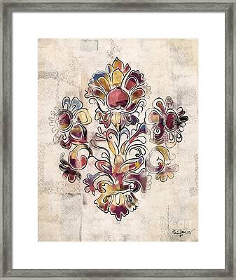 Framed Print featuring the mixed media Vintage Fleur by Carrie Joy Byrnes