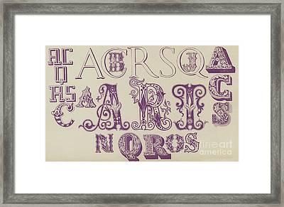 Vintage Fonts    Examples Of Letters  Framed Print