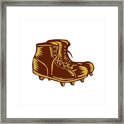 Vintage Football Boots Woodcut Framed Print