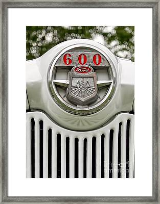 Vintage Ford 600 Nameplate Emblem Framed Print by Edward Fielding