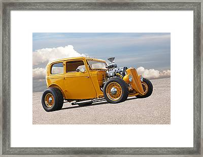 Vintage Ford Hot Rod In Yellow Framed Print by Gill Billington