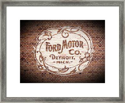 Vintage Ford Logo Painted On Old Brick Wall In Detroit Michigan Framed Print