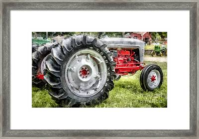 Vintage Ford Tractor Watercolor Framed Print by Edward Fielding