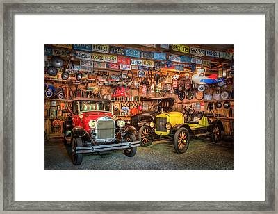 Framed Print featuring the photograph Vintage Fords Collectibles by Debra and Dave Vanderlaan
