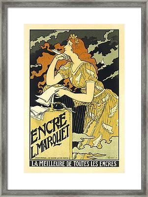 Vintage French Advertising Art Nouveau Encre L'marquet Framed Print