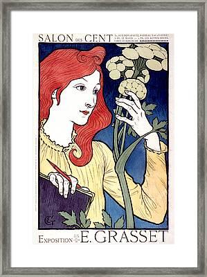 Vintage French Advertising Art Nouveau Salon Des Cent Framed Print