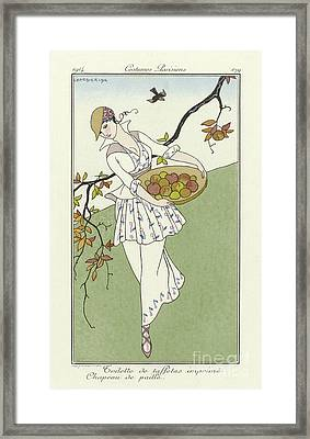 Vintage French Fashion Plate  Girl Picking Apples Framed Print