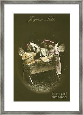 Vintage French Nativity Christmas Card Framed Print