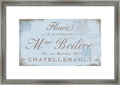 Vintage French Script Sign Framed Print by Mindy Sommers