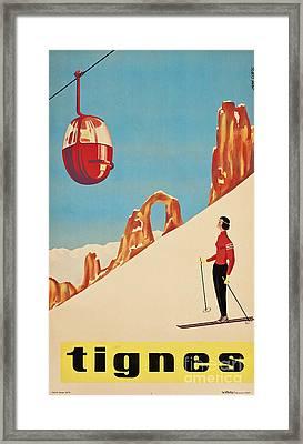 Vintage French Skiing Framed Print