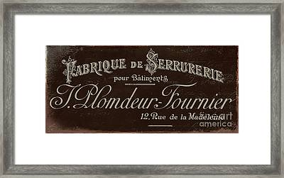 Vintage French Typography Script Sign Framed Print by Mindy Sommers