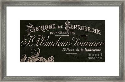Vintage French Typography Sign Framed Print by Mindy Sommers