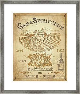 Vintage French Wine Label-jp3973 Framed Print by Jean Plout