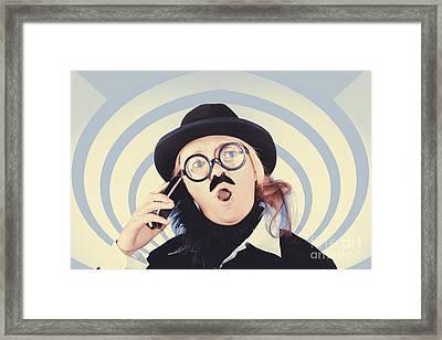 Vintage Futurist Using Phone On Time Warp Backdrop Framed Print