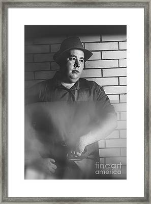 Vintage Gangster Man Pulling Pistol  Framed Print by Jorgo Photography - Wall Art Gallery