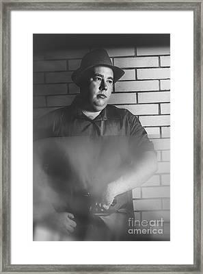 Vintage Gangster Man Pulling Pistol  Framed Print