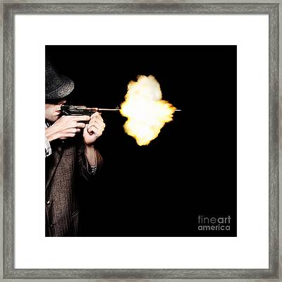 Vintage Gangster Man Shooting Gun On Black Framed Print by Jorgo Photography - Wall Art Gallery
