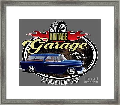 Vintage Garage With Nomad Framed Print