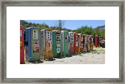 Vintage Gas Pumps Framed Print