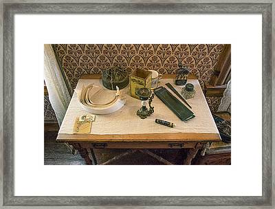 Framed Print featuring the photograph Vintage Gentlemen's Preparation Table by Gary Slawsky