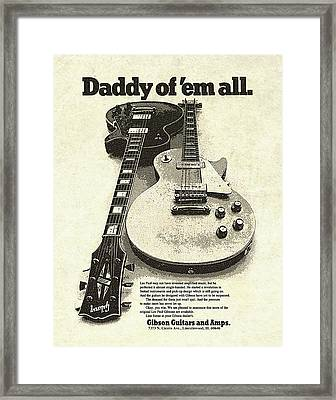Vintage Gibson Les Paul Ad Framed Print by Gary Bodnar