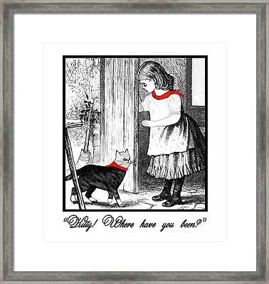 Vintage Girl Lets In Her Gray Cat Framed Print