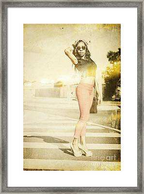 Vintage Girl Modelling In Seventies Fashion Photo  Framed Print