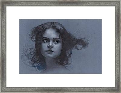 Vintage Girl - Pencil Drawing Framed Print by Thubakabra