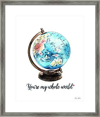 Vintage Globe Love You're My Whole World Framed Print by Laura Row