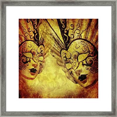 Vintage Golden Texture With Venetian Masks Framed Print