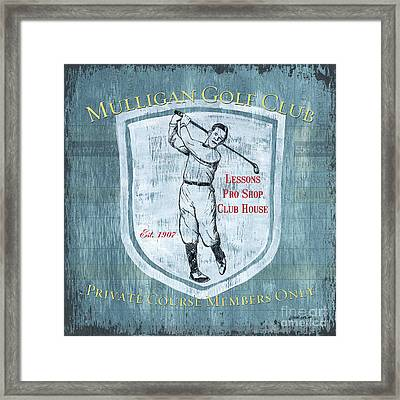 Vintage Golf Blue 1 Framed Print by Debbie DeWitt