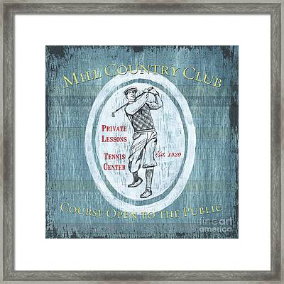 Vintage Golf Blue 2 Framed Print by Debbie DeWitt