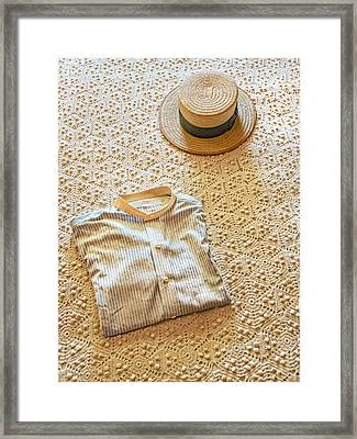 Framed Print featuring the photograph Vintage Golfer's Hat And Shirt by Gary Slawsky