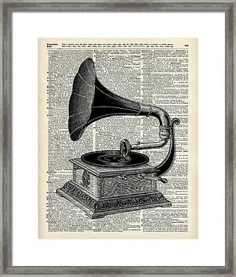 Vintage Gramophone Framed Print by Jacob Kuch