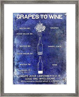 Vintage Grape To Wine Chart Blue Framed Print