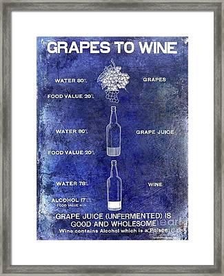 Vintage Grape To Wine Chart Blue Framed Print by Jon Neidert