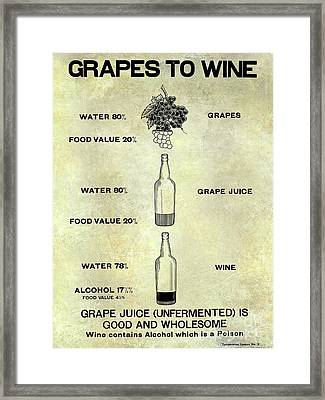 Vintage Grape To Wine Chart Framed Print