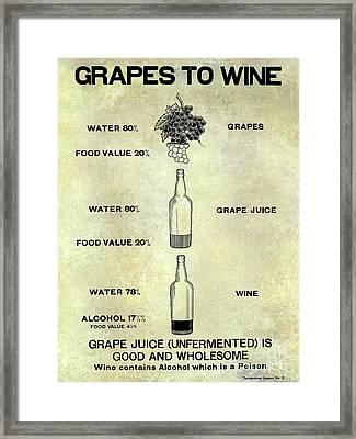 Vintage Grape To Wine Chart Framed Print by Jon Neidert