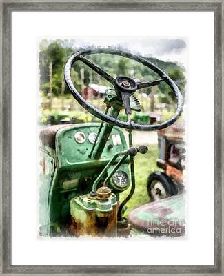 Vintage Green Tractor Steering Wheel Framed Print by Edward Fielding