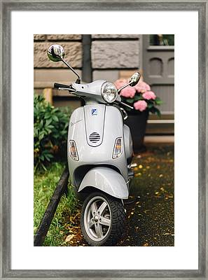 Vintage Grey Vespa,old Fashioned Italian Motorbike, Is Parked On The Street Sideway Framed Print by Aldona Pivoriene