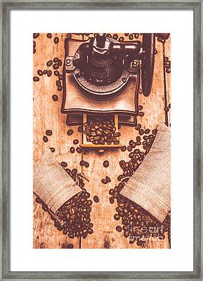 Vintage Grinder With Sacks Of Coffee Beans Framed Print by Jorgo Photography - Wall Art Gallery