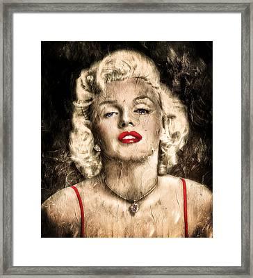 Vintage Grunge Goddess Marilyn Monroe  Framed Print by Georgiana Romanovna