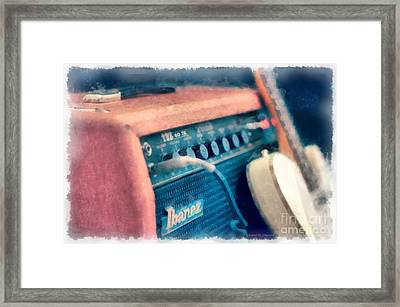 Vintage Guitar Amp Watercolor Framed Print by Edward Fielding