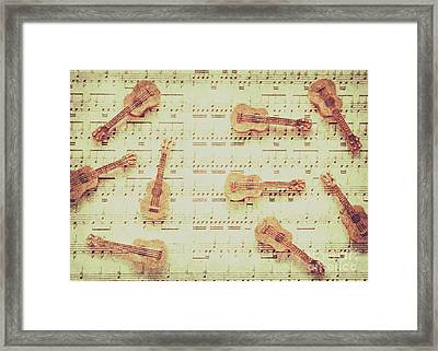 Vintage Guitar Music Framed Print