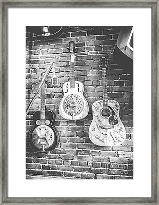 Vintage Guitar Trio In Black And White Framed Print